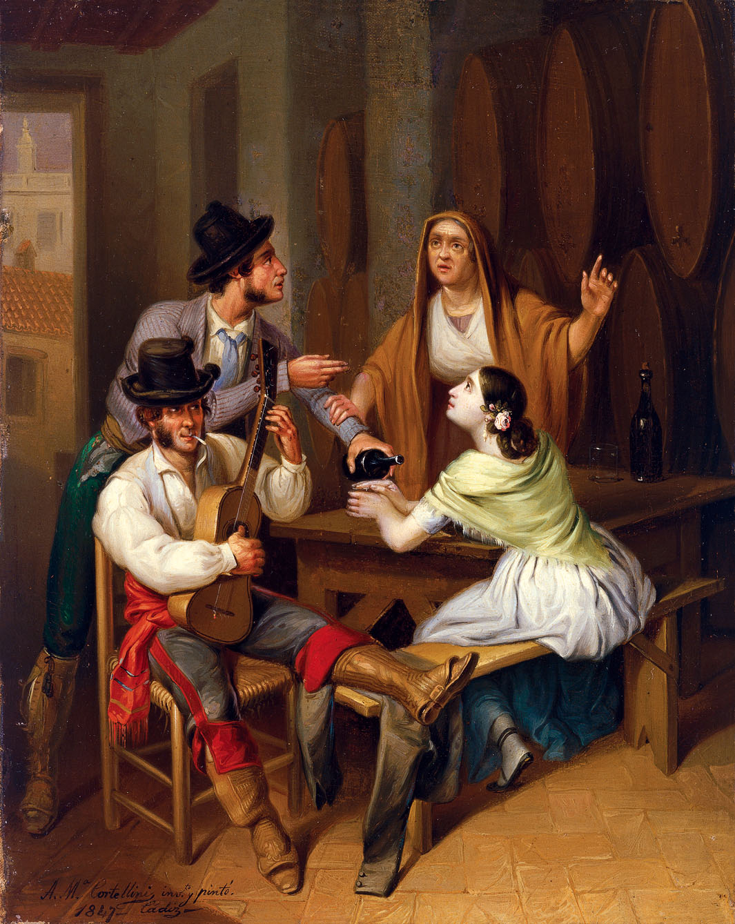No more Wine. Tavern Scene