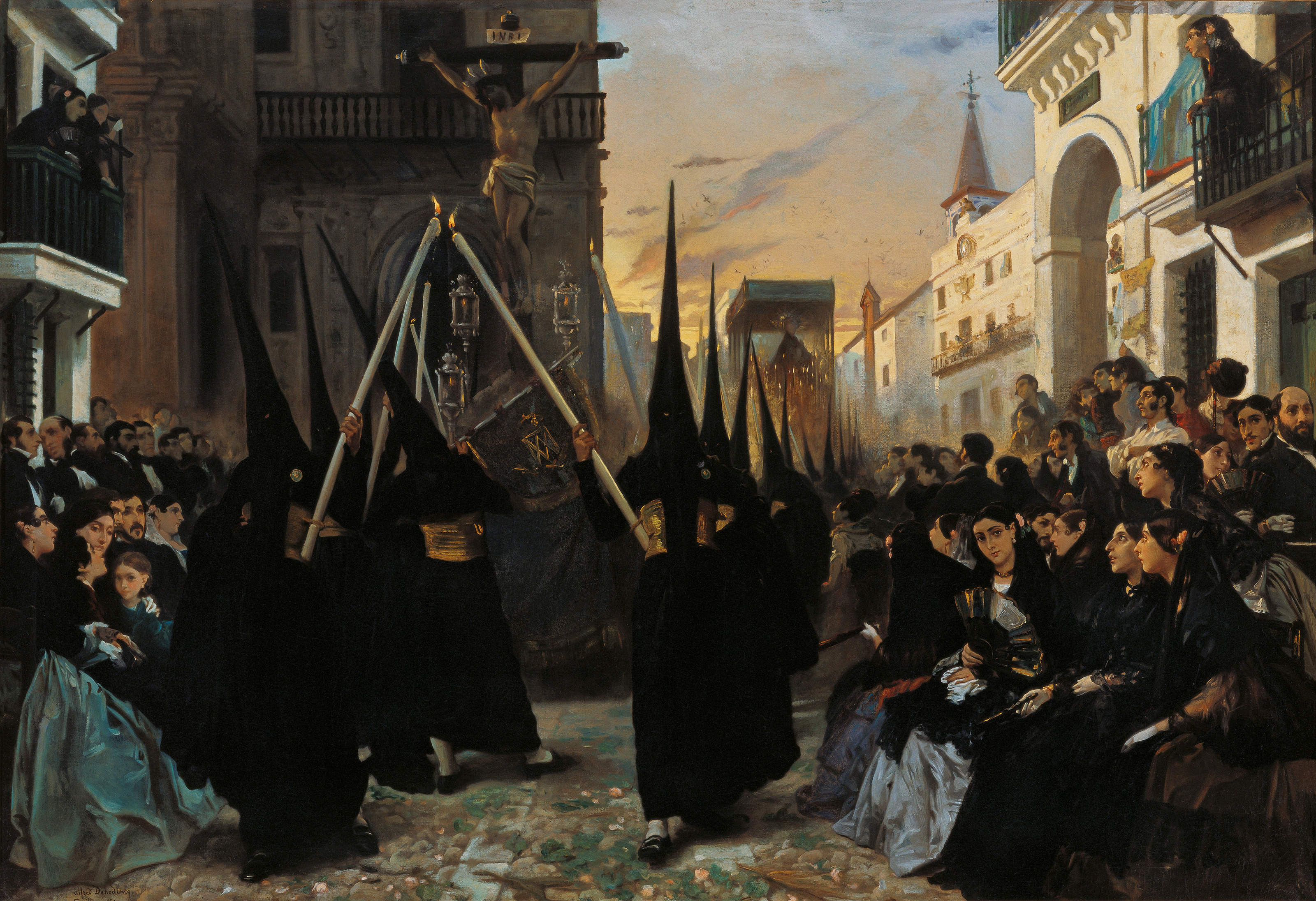 A Confraternity in Procession along Calle Génova,