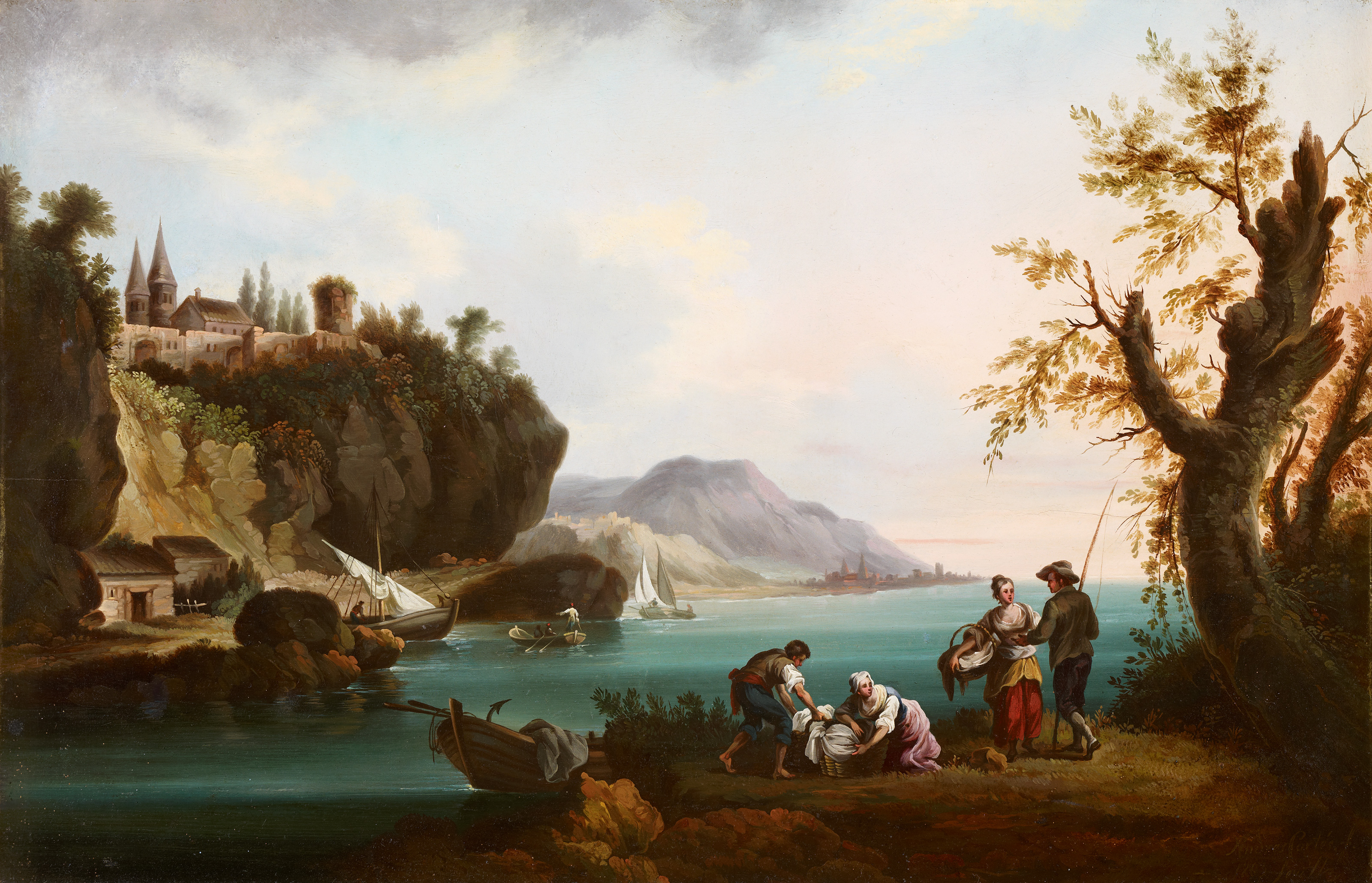 Washerwomen and Fishermen in a Coastal Landscape