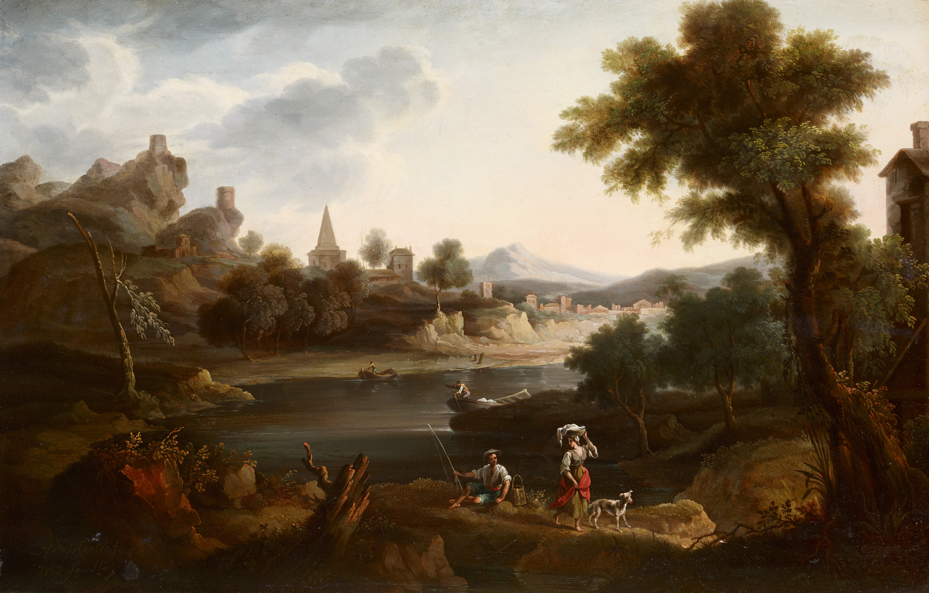 River Landscape with Washerwoman and Fisherman